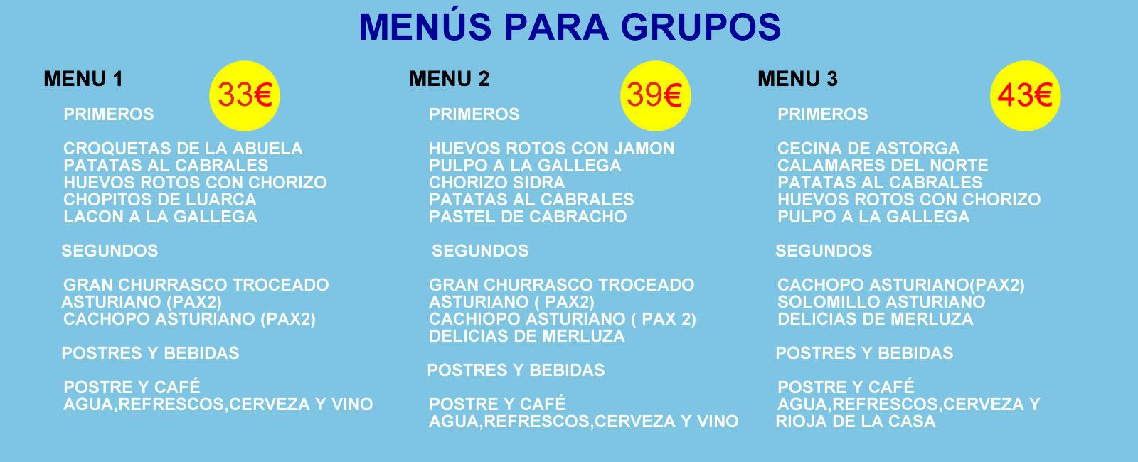 Rstaurante con menús para grupos en Madrid
